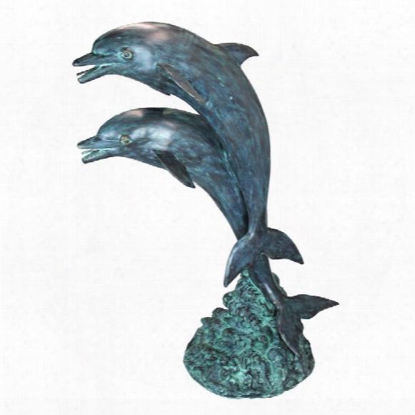 Twin Dolphins In Tandem Bronze Garden Statue