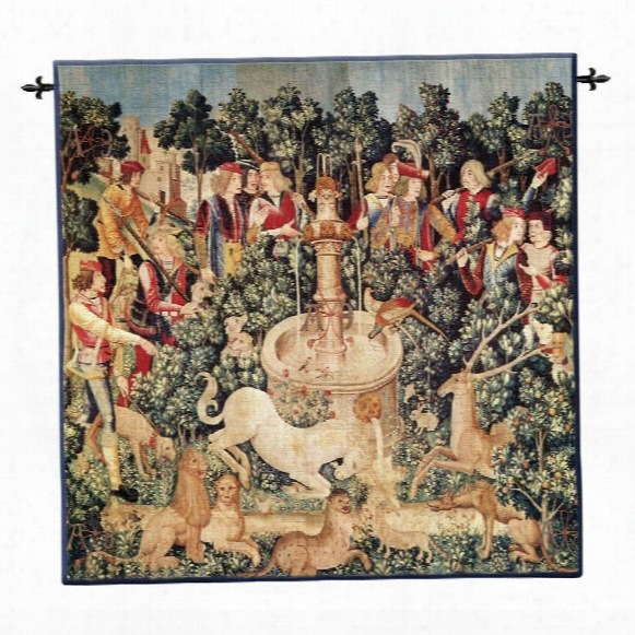Unicorn Dips His Horn Wall Tapestry: Large, Cotton