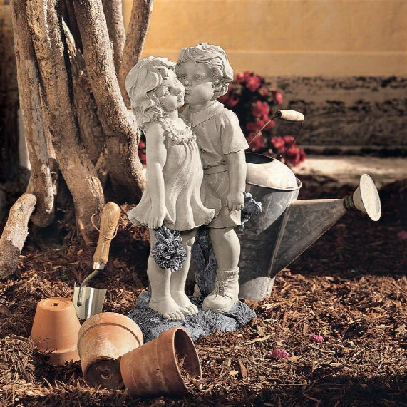 Young Sweethearts: Kissing Children Garden Statue