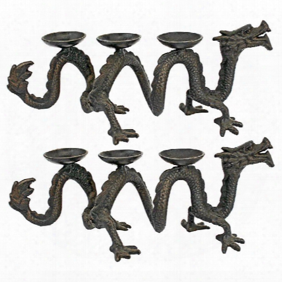 Ancient Yazi Dragon Foundry Cast Iron Candelabrum: Set Of Two