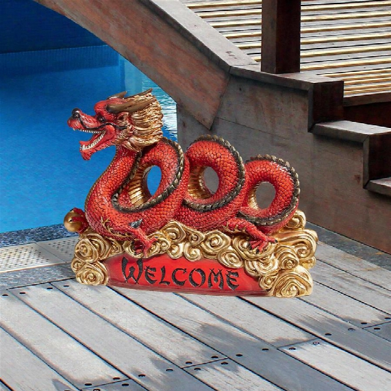 Asian Zen Dragon Garden Welcome Statue