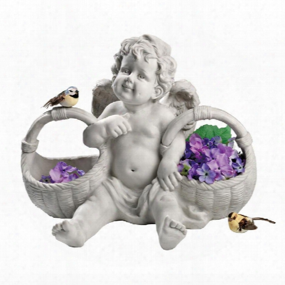 "Basket Of Treats"" Cherub Statue"