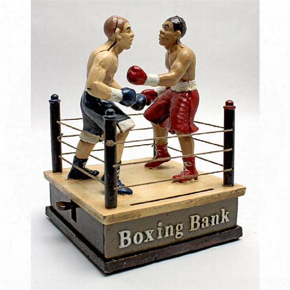 Battling Boxers Di Cast Irron Mechanical Coin Bank