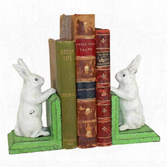 Bookworm Bunny Rabbits Cast Iron Sculptural Bookend Pair