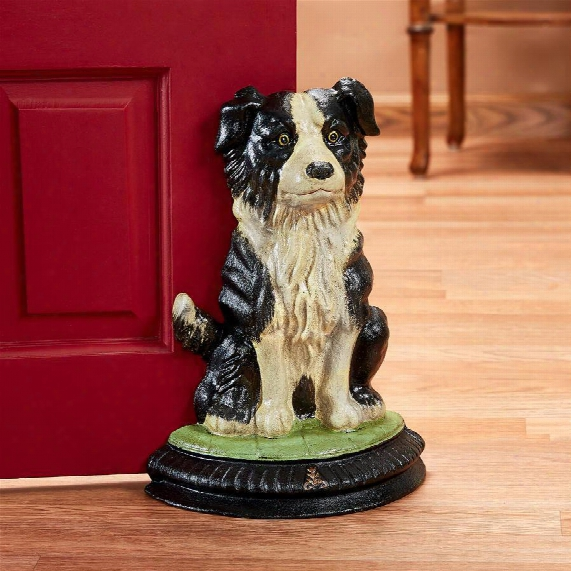 Border Collie Dog Foundry Cast Iron Doorstop Statue