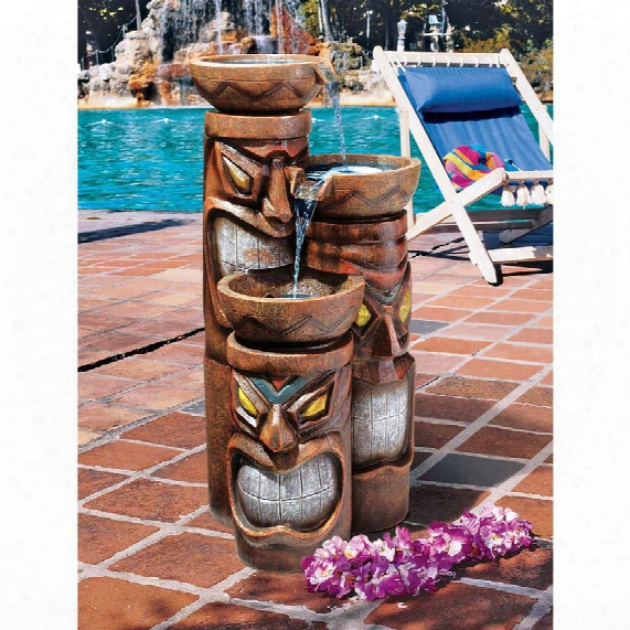 "Cascading Aloha Tiki"" Three-bowl Garden Fountain"