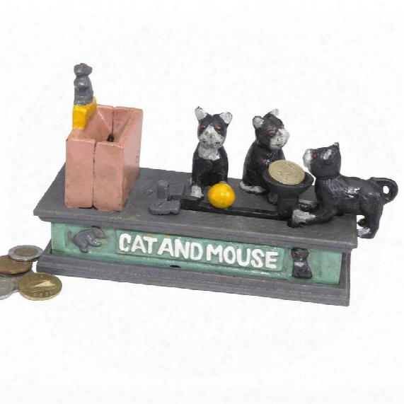 Cat And Mouse Authentic Foundry Iron Mechanical Bank
