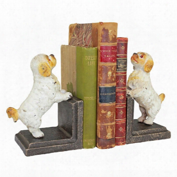 Cavalier King Charles Spaniel Dog Cast Iron Sculptural Bookend Pair