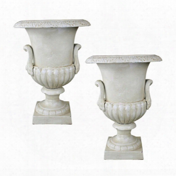 Chateau Elaine Authentic Iron Urn: Medium Set Of 2