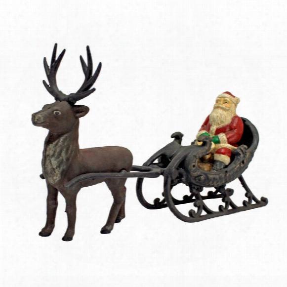 Christmas Santa On Sleih With Reindeer Die-cast Iron Statue