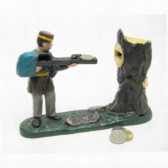 Creedmoor Rifle Range Hunter Collectors' Die Cast Iron Mechanical Coin Bank