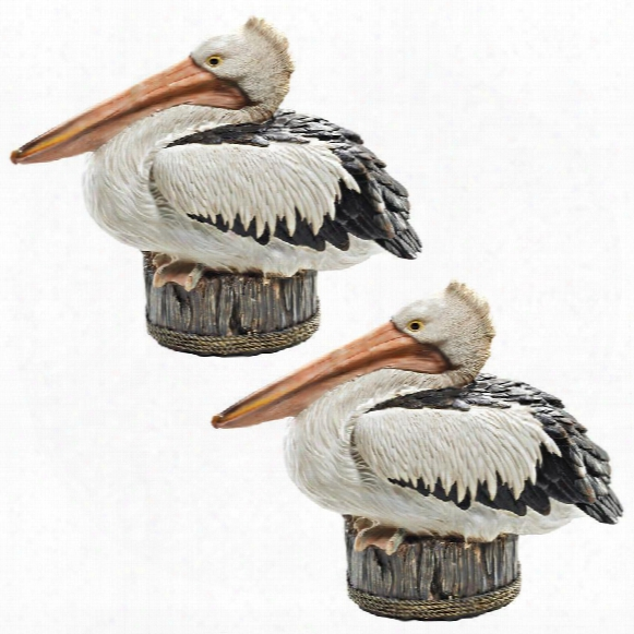 """Dock Of The Bay"""" Pelican Statues: Set Of Two"""