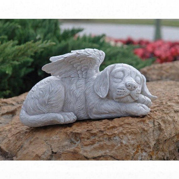 Dog Memorial Angel Pet Statue: Stone