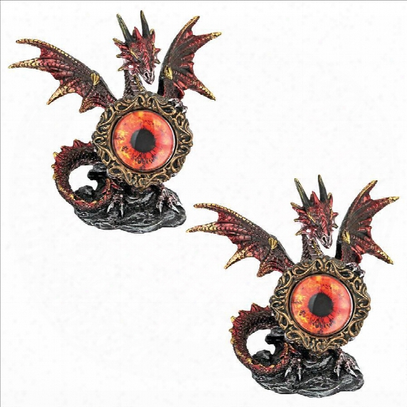 Dragon Protector Of The Mystic Evil Eye Statue: Set Of Two