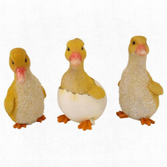 Duckling Broo Garden Statues: Set Of Three
