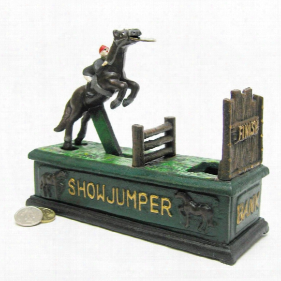 Equestrian Show Jumper Authentic Foundry Cast Iron Mechanical Bank