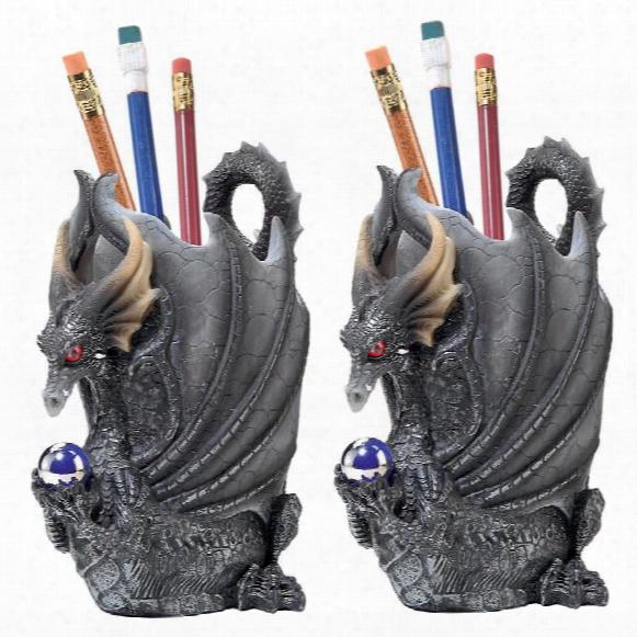 Escritoire The Dragon Desk Accessory Sculpture: Set Of Two