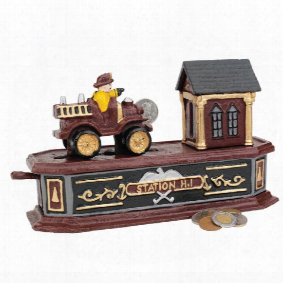 Fire Engine Station Number 1 Collectors' Die-cast Iron Mechanica Coin Bank
