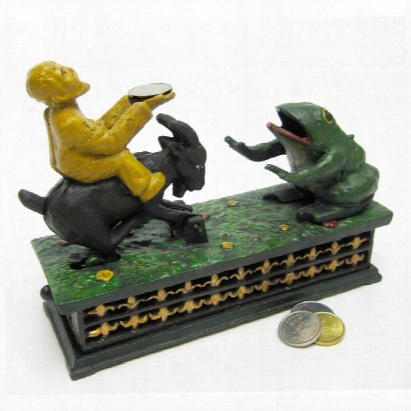 Frog & Goat Collectors' Die Cast Iron Mechanical Coin Bank