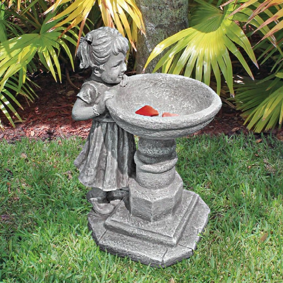 "Georgina's Garden Gaze"" Child At Birdbath Statue"