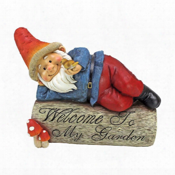 "Gideon, The Garden Gnome"" Welcome Sign Statue"