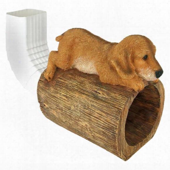 Golden Retriever Puppy Dog Gutter Guardian Downspout Statue