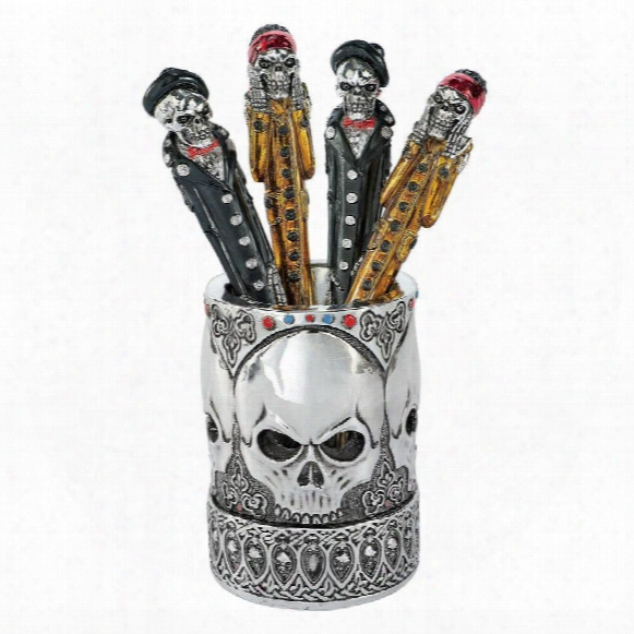Gothic Skull Vessel And Pen Set