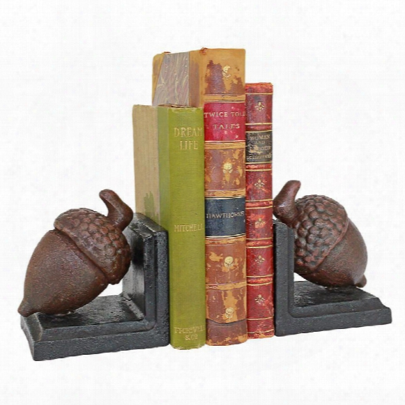 Grande Acorn Cast Iron Sculptural Bookend Pair