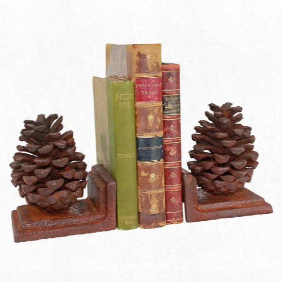 Grande Pinecone Cast Iron Sculptural Bookend Pair