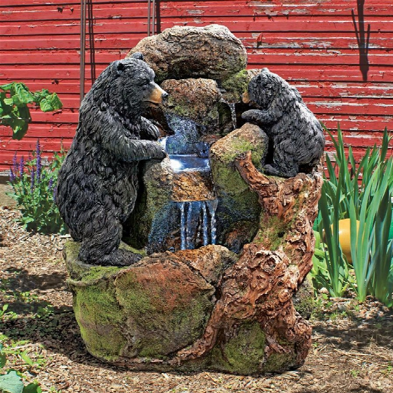 Grizzly Gulch Black Bears Sculptural Fountain