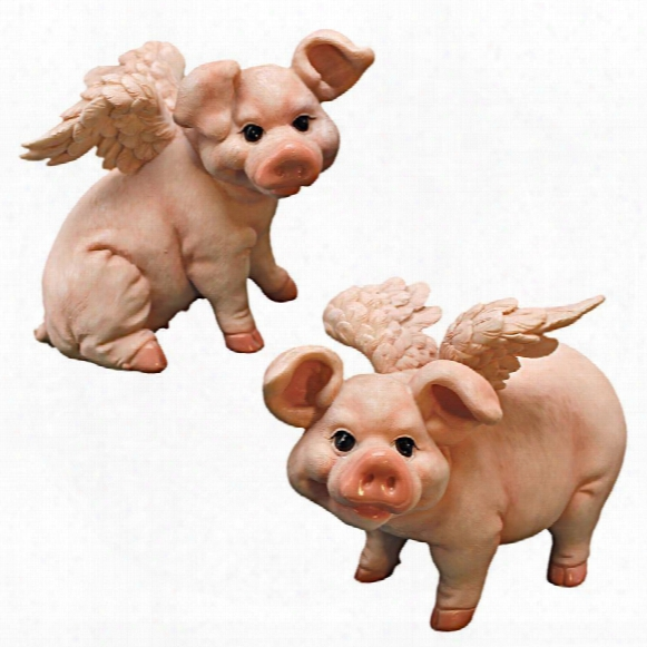 Hog Heaven Flying Pigs Statue Collection: Set Of Two