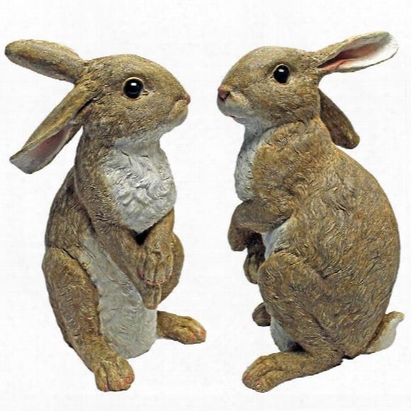 Hopper, The Bunny, Standing Garden Rabbit Statue: Set Of Two