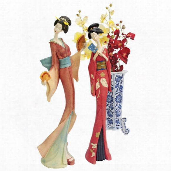 Japanese Maiko Geisha Fan Dancer Statues: Set Of Two