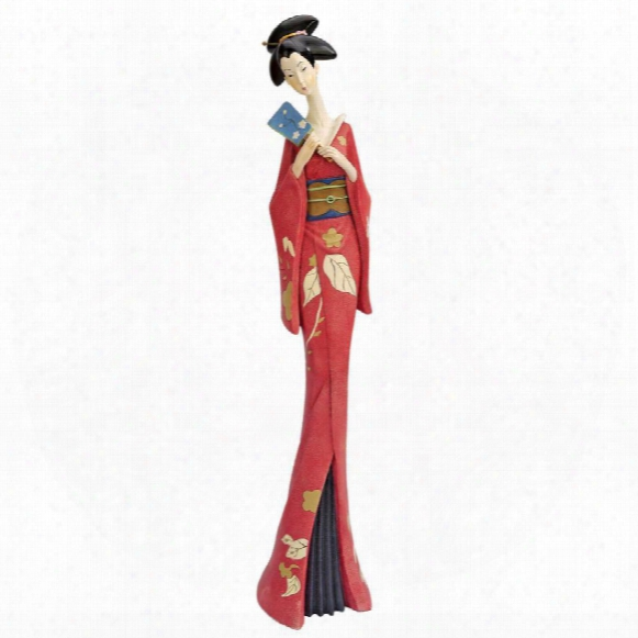 Japanese Maiko Geisha Fan Dancer Statues: Teruha