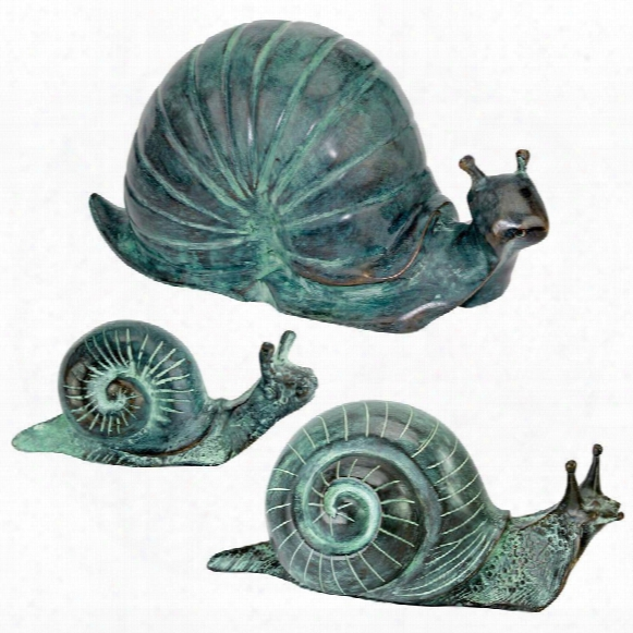 Land Snails Cast Bronze Garden Statue Set