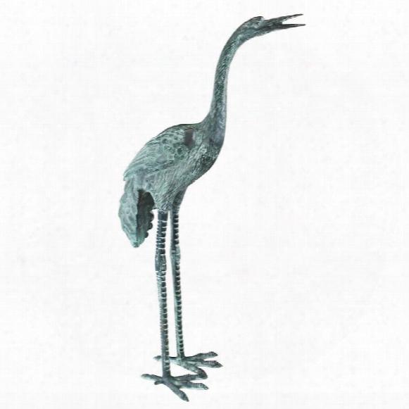 Large Bronze Crane: Straight Neck