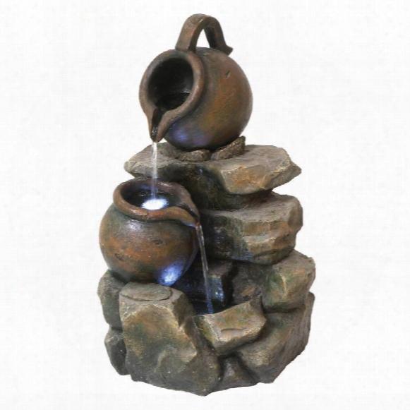 Lataverna Cascading Urns Illuminated Garden Fountain