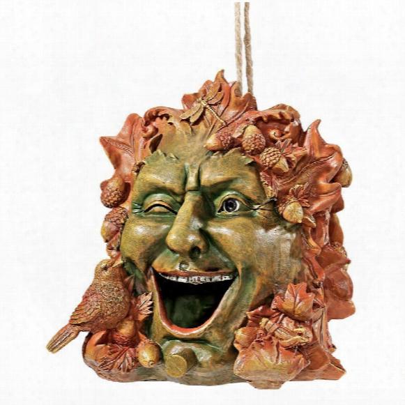 "Laughing Greenman"" Birdhouse Statue"
