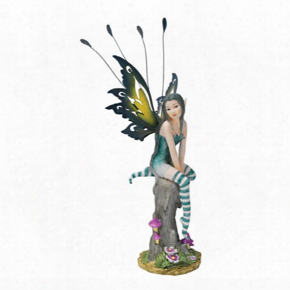 "Lochloy House"" Striped Stockings Fairy Statue"