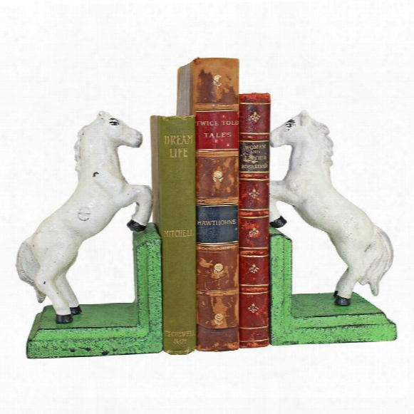 Majestic Stallion Horse Cast Iron Sculptural Bookend Pair