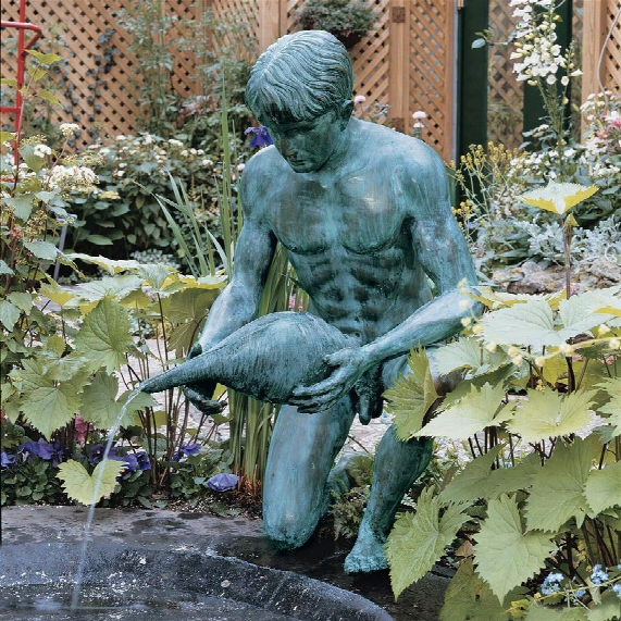 Man With Shell Bronze Sculpture