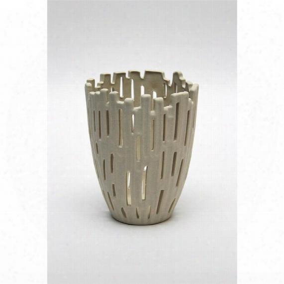 """Mansi 5"""" Taupe Hand-crafted Ceramic Vase"""
