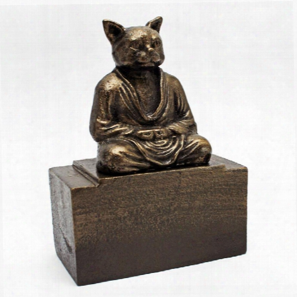 Meditating Asian Cat Cast Iron Feline Bookend
