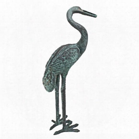 Medium Bronze Crane: Curved Neck