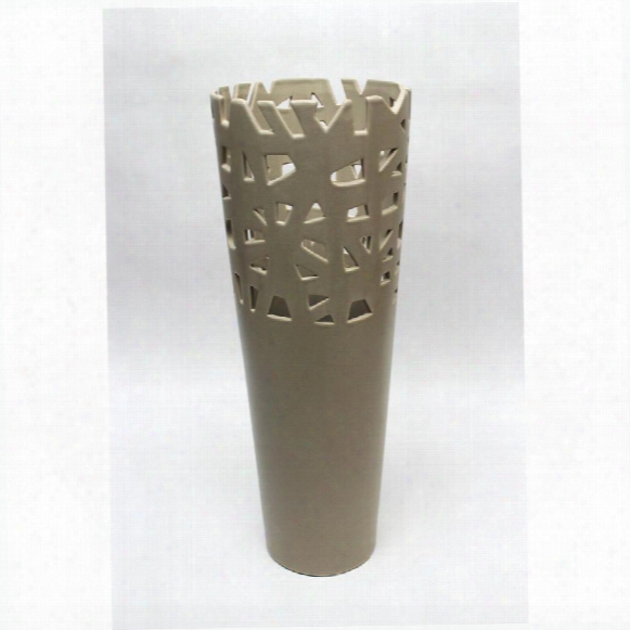 "Meka 17"" Taupe Hand-crafted Ceramic Vase"