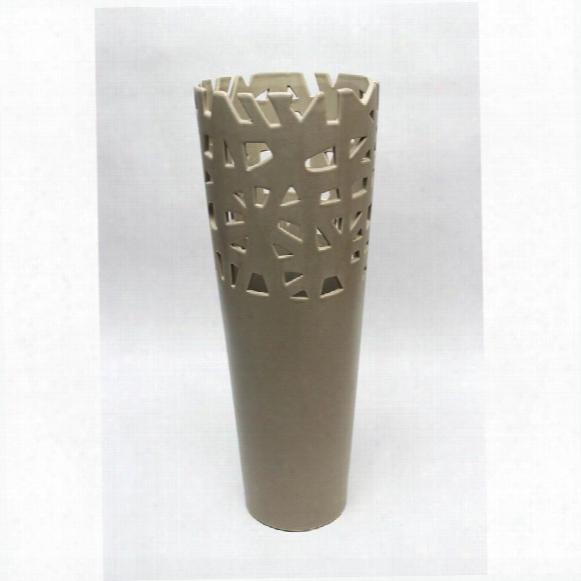 "Meka 17"" Taupe Hand-crafted Ceramic Vase"