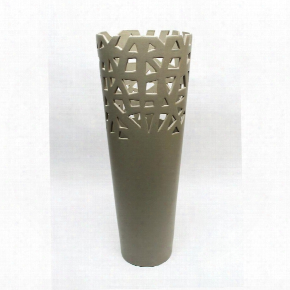 "Meka 22"" Taupe Hand-crafted Ceramic Vase"