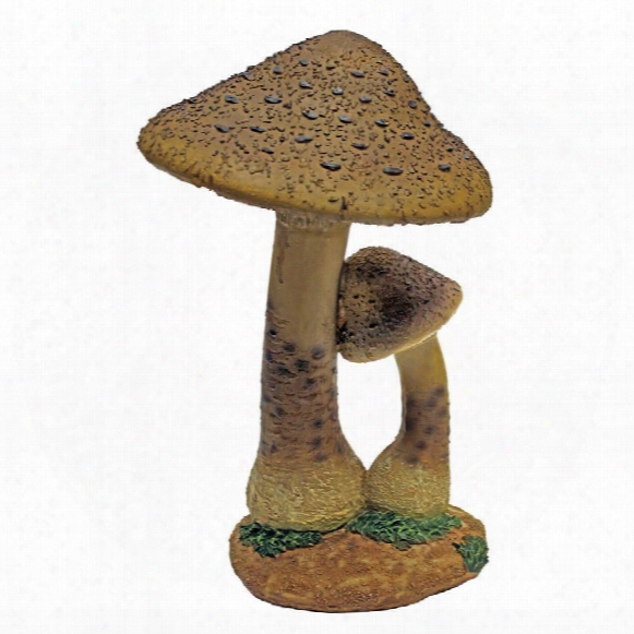 Mystic Forest Red And Tan Mushroom Statue: Tan