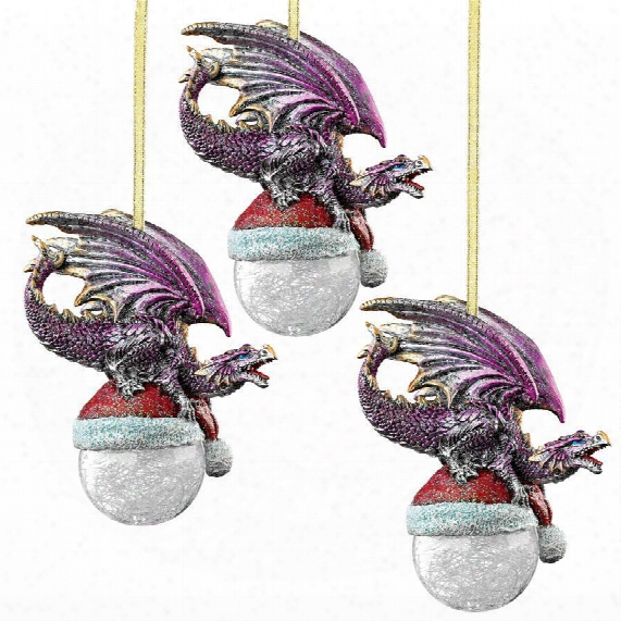 North Pole Dragon 2015 Holiday Ornament: Set Of Three