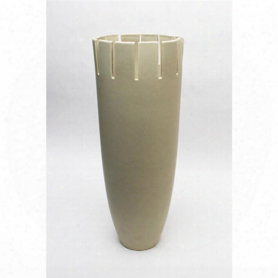 "Noya 17"" Taupe Hand-crafted Ceramic Vase"